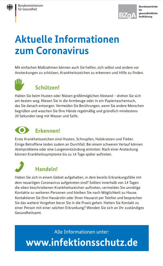 Aktuelle Infos Coronavirus